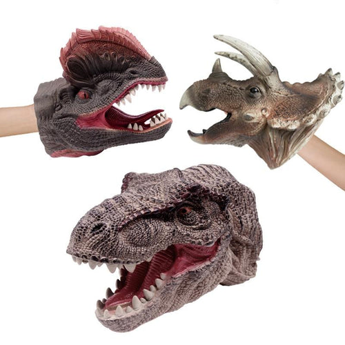 Realistic Dinosaur Figures Hand Puppets Gloves Soft Vinyl Rubber Animal Shark Cow Head Action Finger Dinosaur Model Toys - SaturnLoop Shops Sales