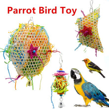 Load image into Gallery viewer, Parrot Bite Toys Birds Wooden Climbing Biting Straw Rope Colorful Funny Play Toy with Hanging Hook For Pet Bird Supplies 1PC 25