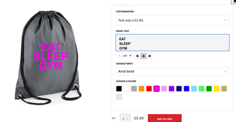 Personalised Gym Sac