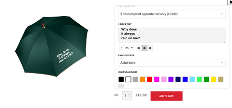 Personalising an umbrella