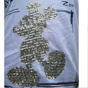 T- Shirt Mickey Mouse Comic New Italy  Collection Mode weiß Spitze Pailletten