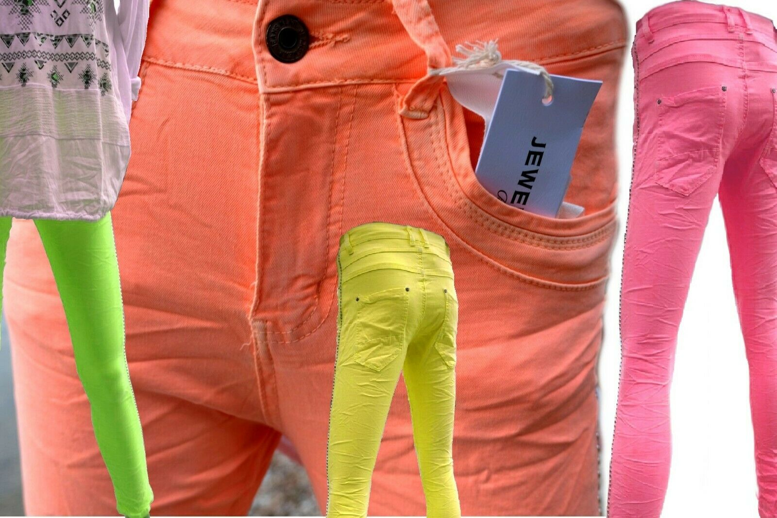 Jewelly Damen Baggy Jeans XS-S-M-L-XL- lange Hose Neon grün-gelb-pink-orange