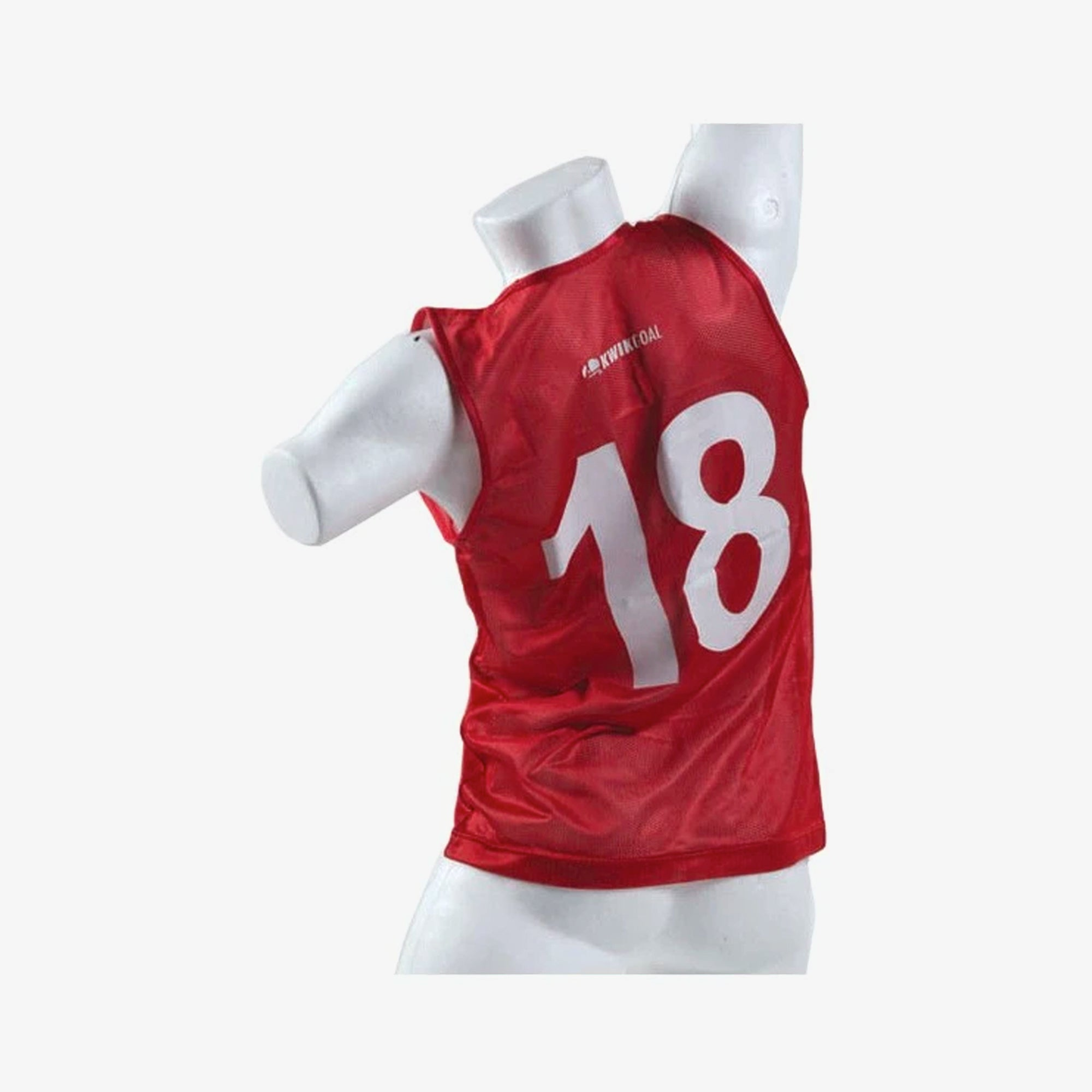 Kid's Numbered Soccer Training Vest Red #1-18
