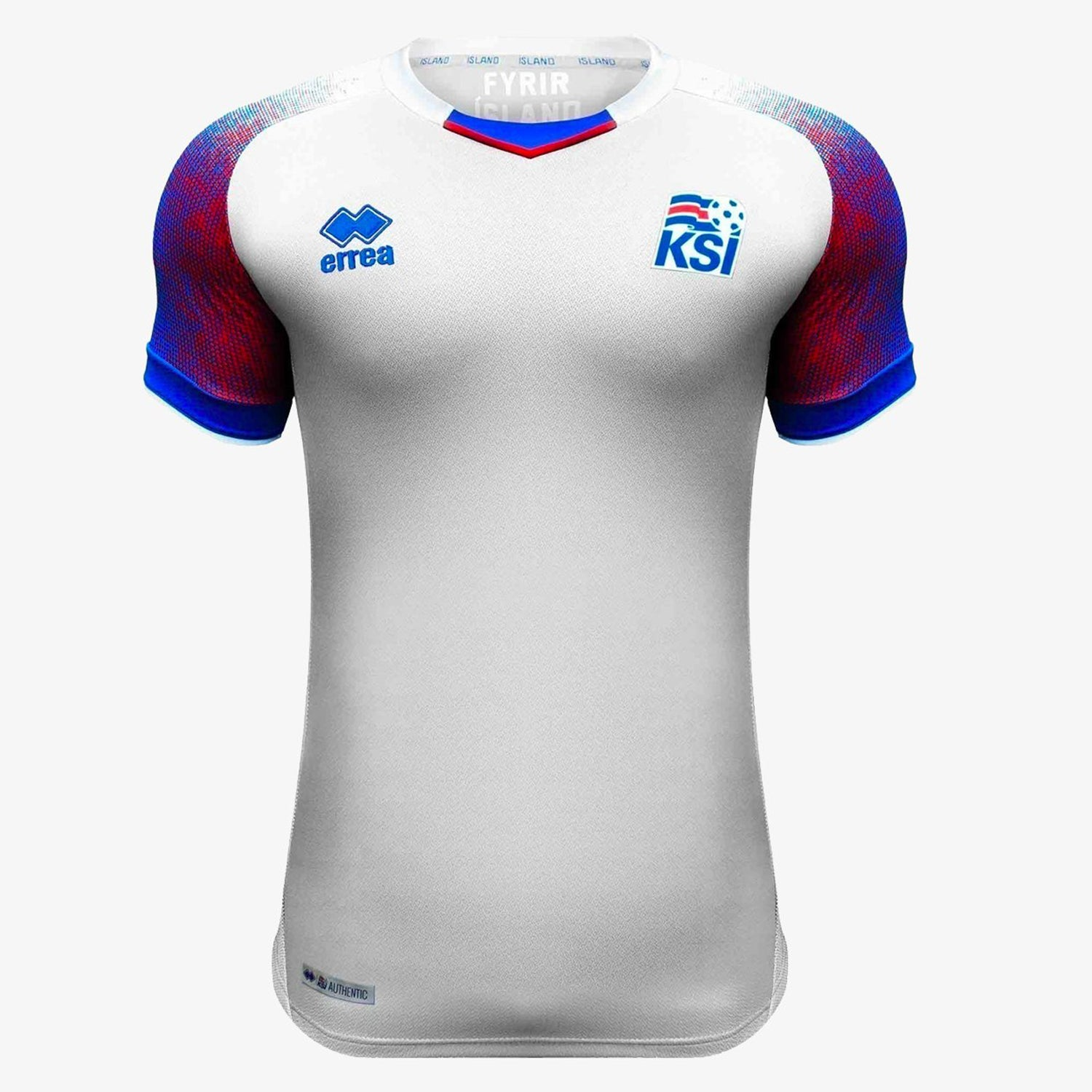 Men's KSI Iceland 18 Away Jersey - White/Blue/Red
