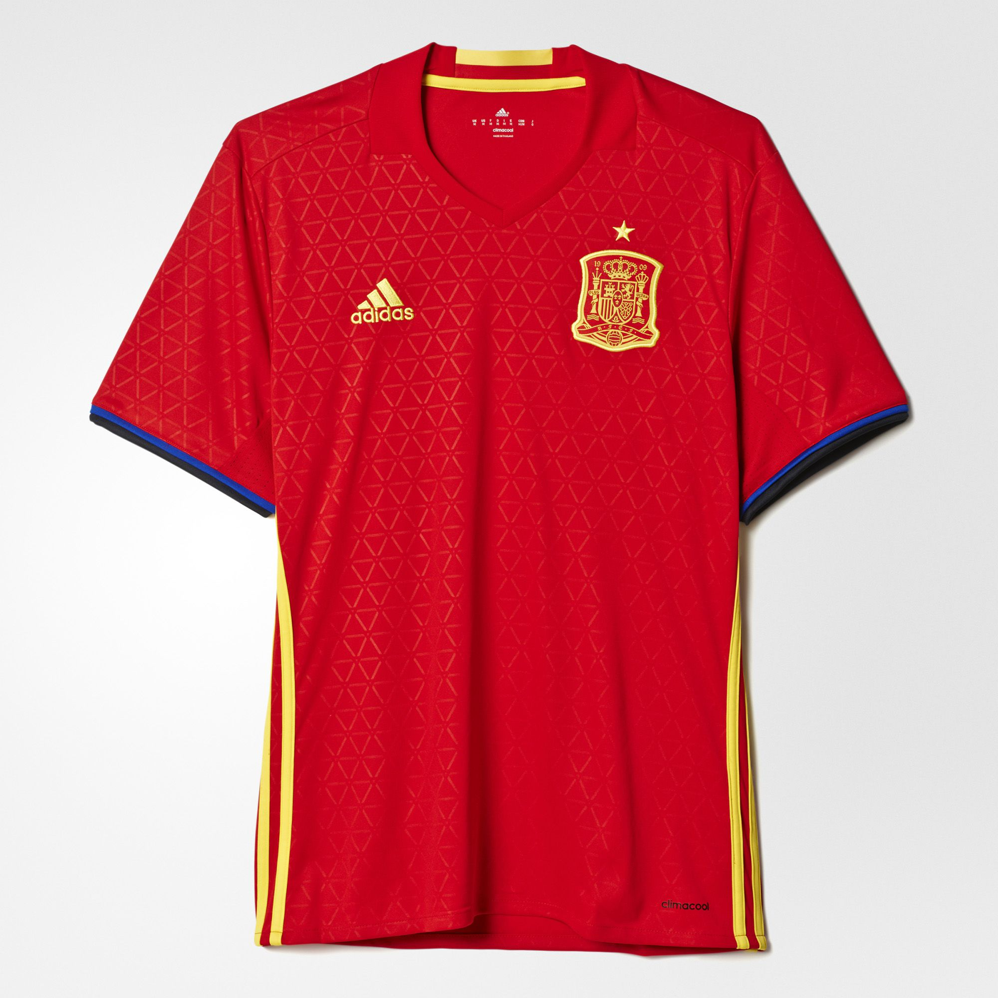 Men's Spain Home Soccer Jersey Euro 2016