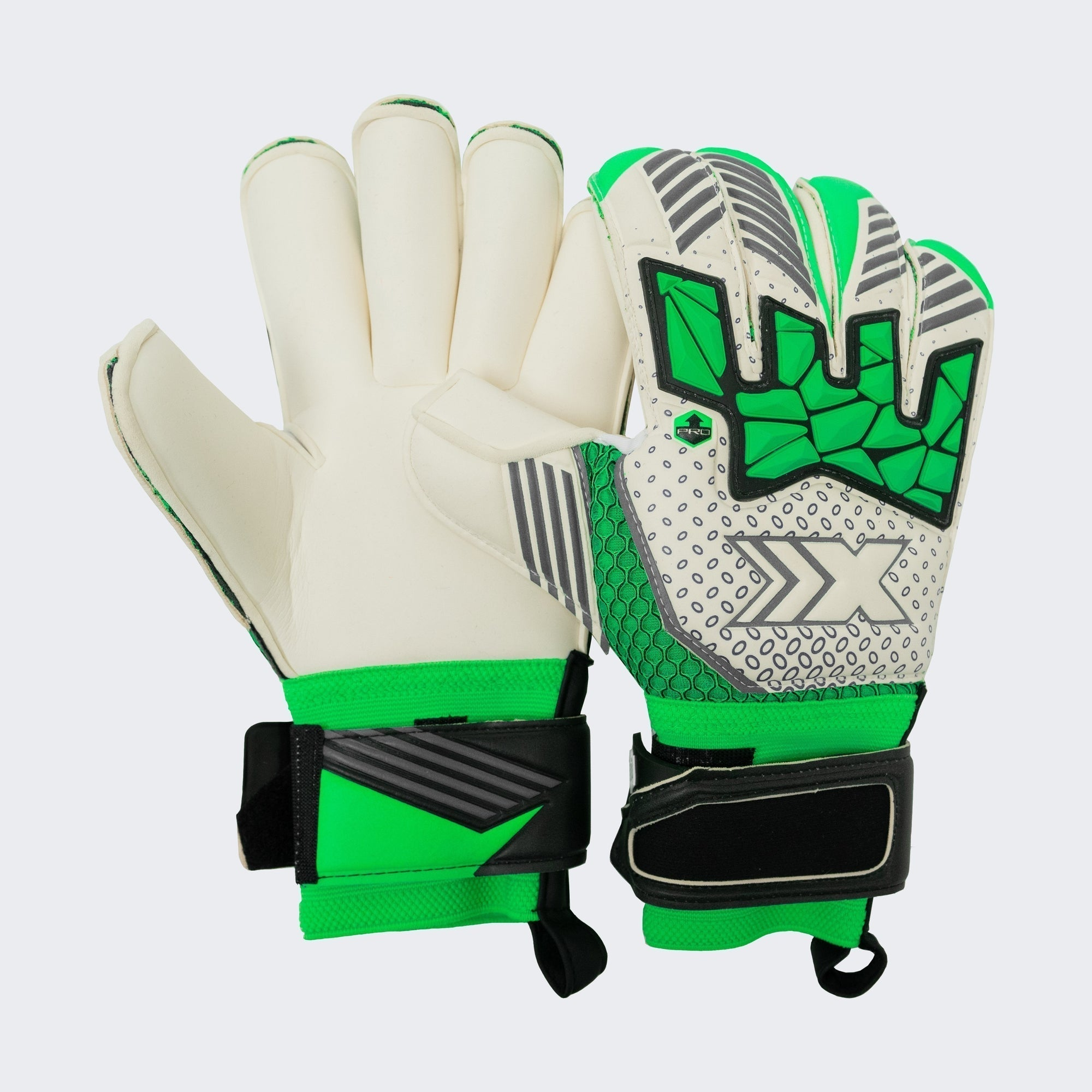Pro Elite Goalkeeper Gloves - Off White/Green