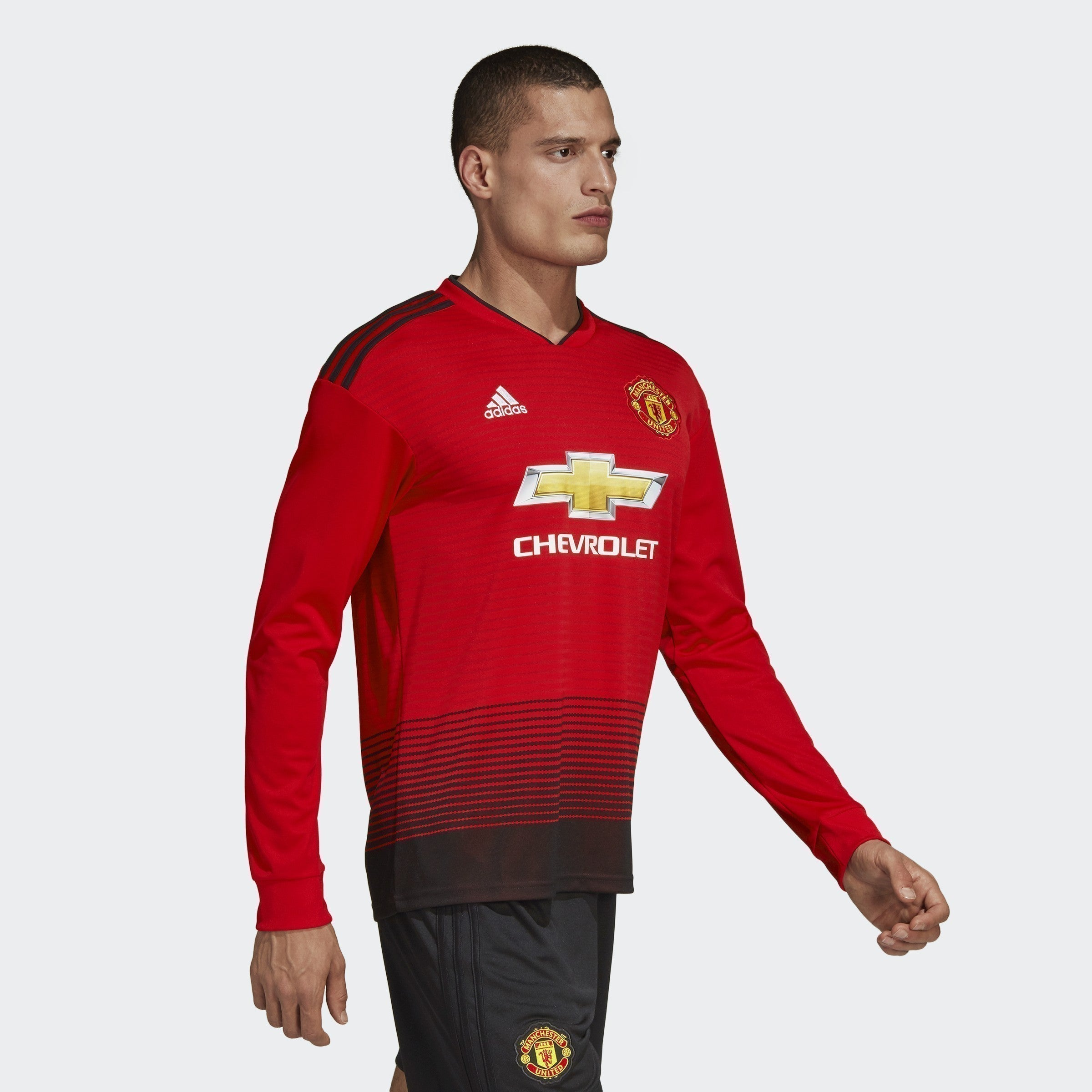 Men's Manchester United Longsleeve Home Jersey - Real Red/Black ...