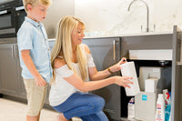 Refilling a water softener with salt blocks