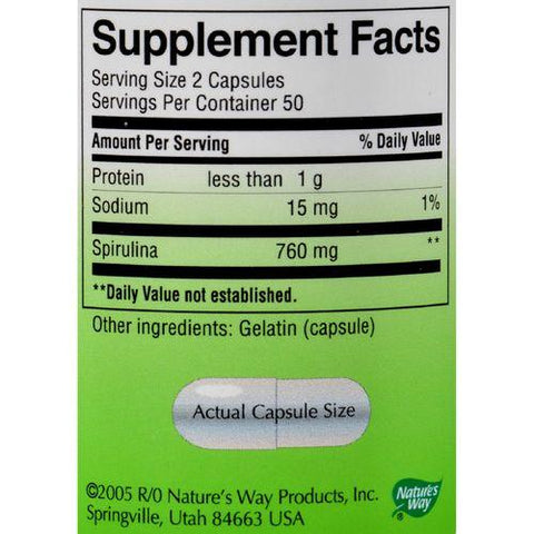Nature's Way - Spirulina Micro-Algae - 100 Capsules