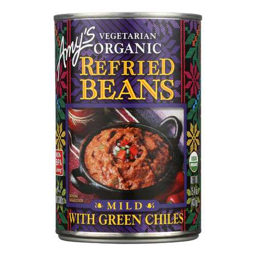Amy's - Organic Refried Beans with Green Chiles - Case of 12 - 15.4 oz.