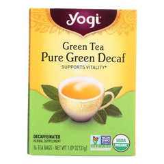 Yogi Organic Green Tea Caffeine Free - 16 Tea Bags - Case of 6