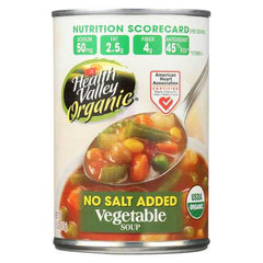 Health Valley Organic Soup - Vegetable No Salt Added - Case of 12 - 15 oz.