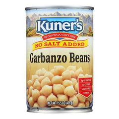 Kuner - Garbanzo Beans - No Salt Added - Case of 12 - 15 oz.