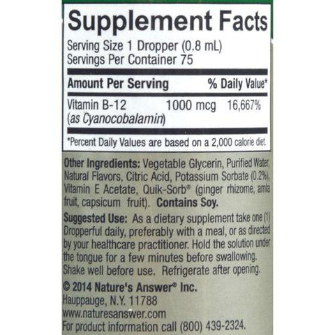 Nature's Answer - Liquid Vitamin B-12 - 2 fl oz