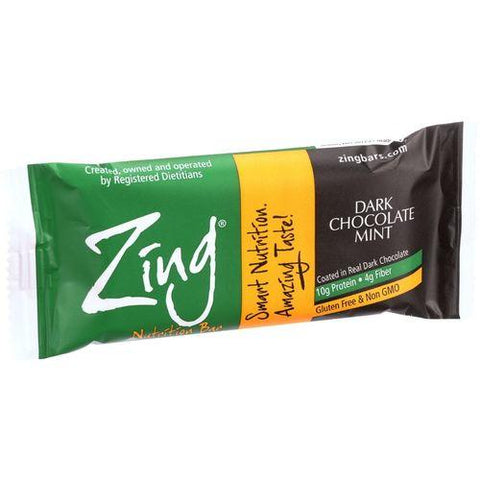 Zing Bars - Nutrition Bar - Dark Chocolate Sunflower Mint - Nut Free - 1.76 oz Bars - Case of 12