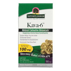 Nature's Answer - Kava 6 Capsules - Gluten Free - 90 Vegetarian Capsules