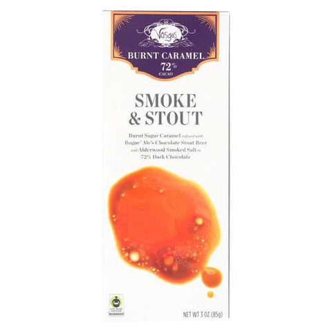 Vosges Haut-Chocolat 72% Cocoa Burnt Caramel Bar - Smoke & Stout - Case of 12 - 3 oz