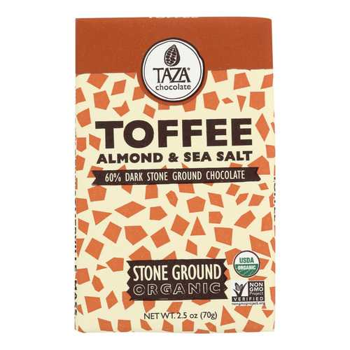 Taza Chocolate Stone Ground Organic Dark Chocolate Bar - Toffee Almond and Sea Salt - Case of 10 - 2.5 oz.