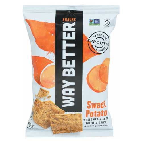Way Better Snacks Tortilla Chips - Sweet Potato - Case of 12 - 1 oz.