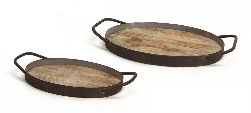 WOOD GRAIN METAL TRAY-LG