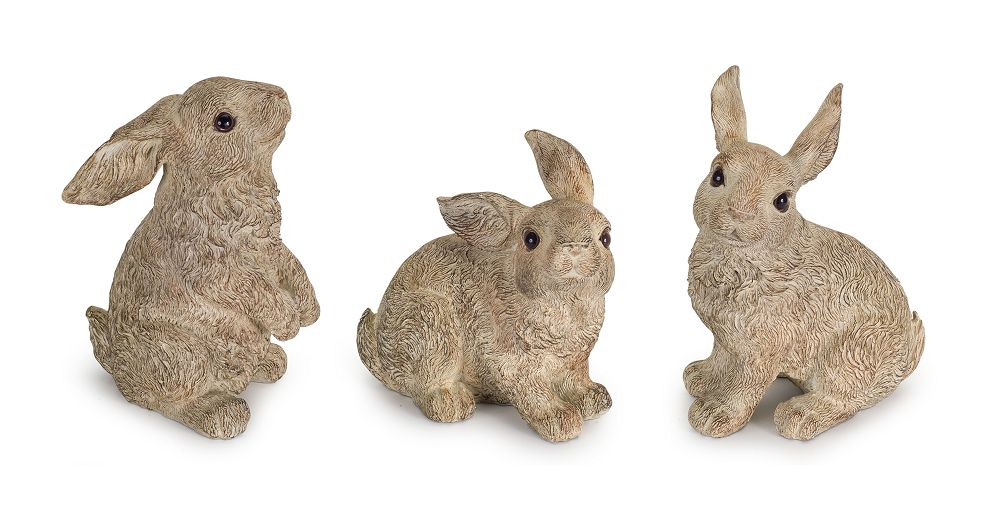 ASST BROWN STONE/RESIN RABBIT