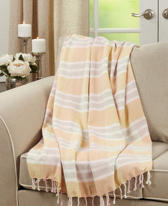 PINK/GREY/YELLOW PLAID THROW