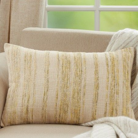 YELLOW STRIPED OBLONG PILLOW