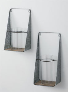 METAL WALL SHELF W/VASE-SM