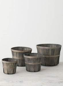 GRAY BUSHEL BASKET-XS
