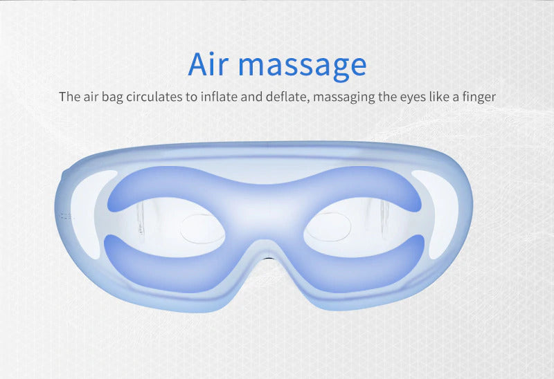 Massager for tired eyes with heated air jet.