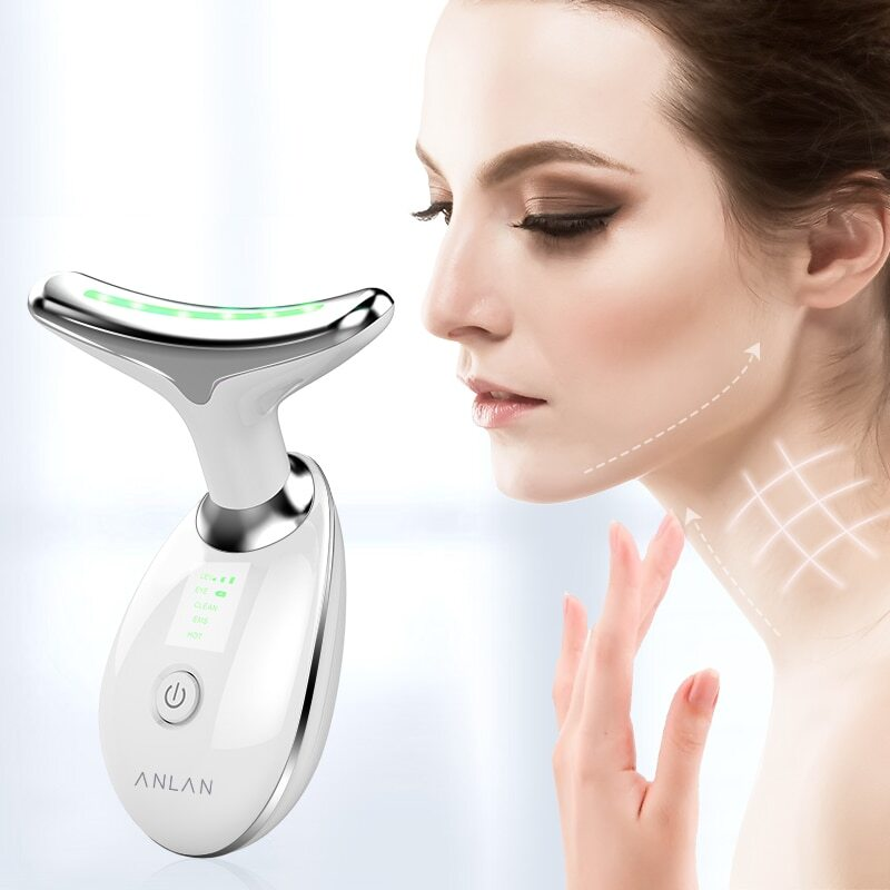 Device for removing wrinkles and creases on the neck skin.