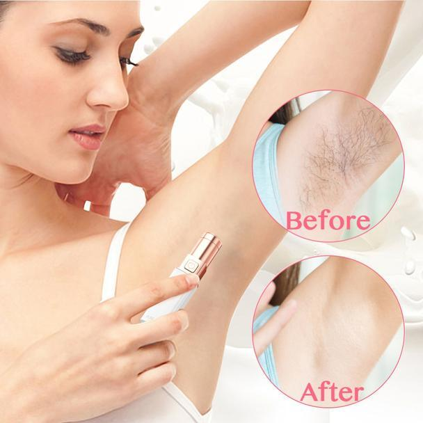 Small electric epilator (shaver) for painless body hair removal.