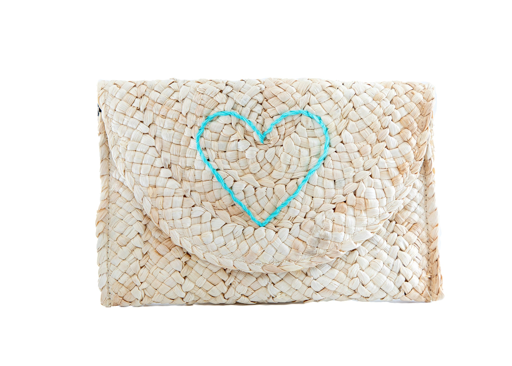 capri clutch - happy heart - turquoise
