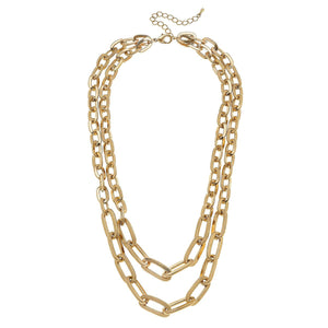 Reese 2-Row Layered Chain Necklace in Worn Gold