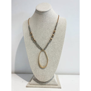 Beaded Long Oval Necklace 1674