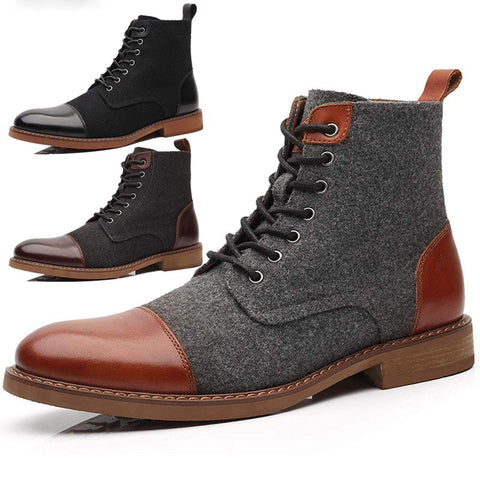 Men Stylish Split Joint Lace Up Low Heel Martin Boots