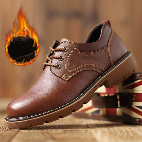 Men Winter Cowhide leather Daily Casual Warm Shoes