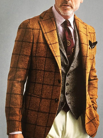 All-match Plaid Suit Jacket