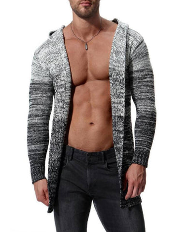 Gray Casual Hoodie Patchwork Sweater