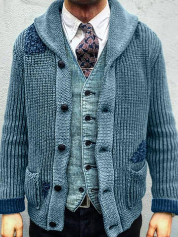 Lapel Standard Patchwork Straight Single-Breasted Sweater