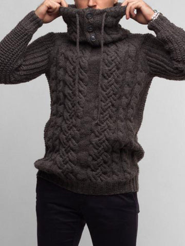 Deep Gray Turtleneck Plain Casual Sweater