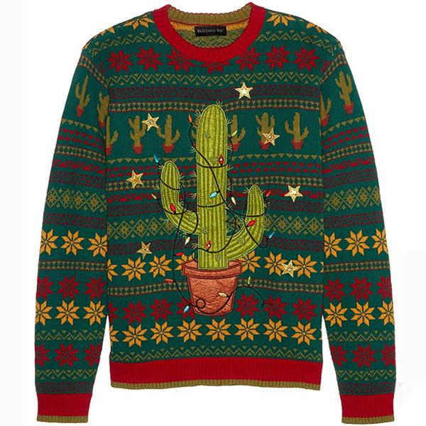 Green Abstract Crew Neck Casual Sweater