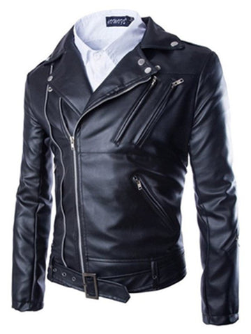 Black Casual Faux Leather Outerwear