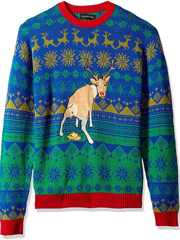 Men's fashion reindeer crew neck sweater