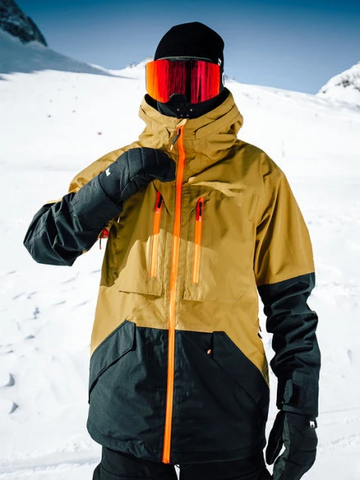 Windproof Panelled Ski Hooded Jacket