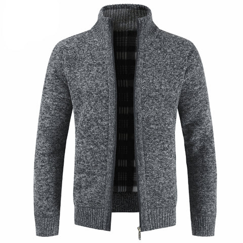 Stand Collar And Velvet Padded Zipper Cardigan Sweater