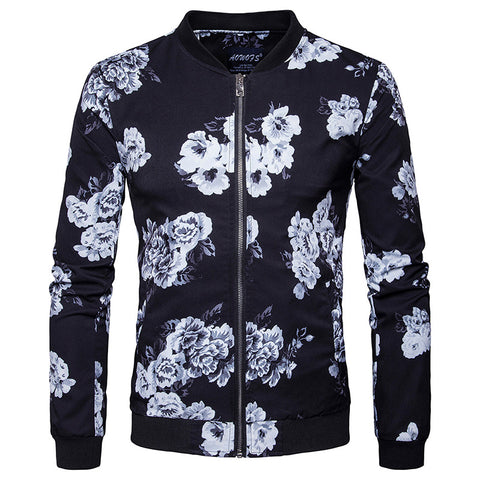 Men's Long Sleeve Floral Printed Baseball Bomber Jacket