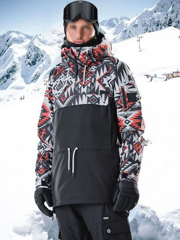 Windproof Print Stitching Ski Suit Top