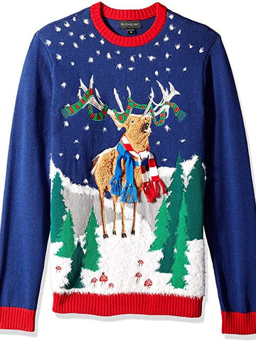 Christmas Blue Abstract Crew Neck Casual Sweater