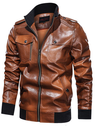 Men's Fashion Stand Collar Leather Jacket
